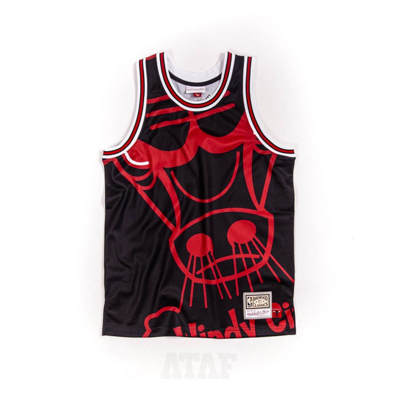 mitchell ness nba chicago bulls big face jersey black